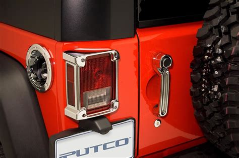 jeep wrangler light covers putco 400893 tail light covers in chrome for 07 17 jeep