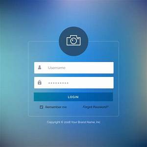 Web Login Template With Blue Button Vector