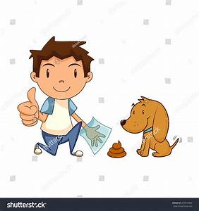 Child Cleaning Dog Waste Clean After Stock Vector ...