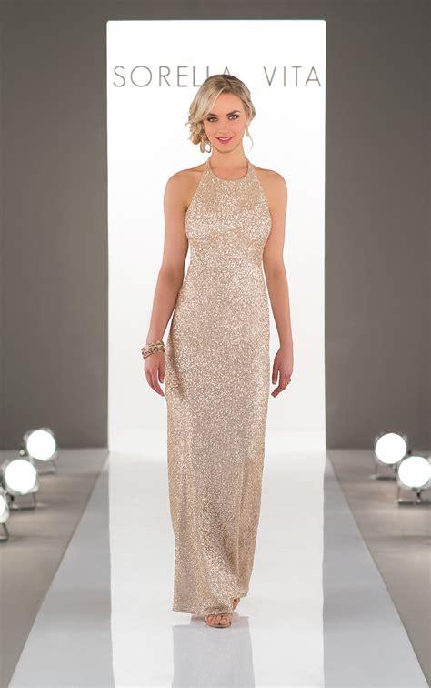 bridesmaid dresses high neck sequin bridesmaid gown