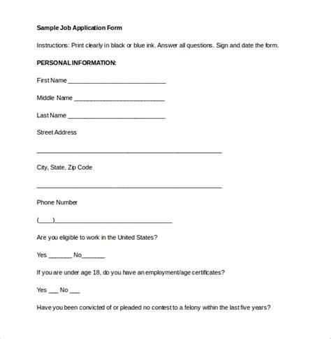 employment application templates  sample