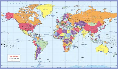 personalised colour blind friendly world political map