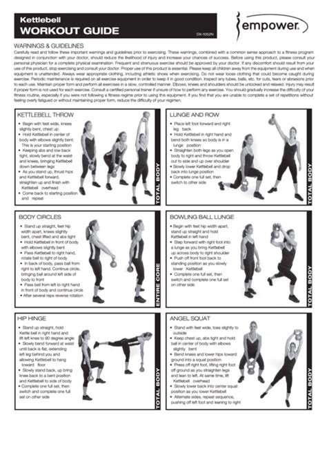 kettlebell chart pdf exercise printable