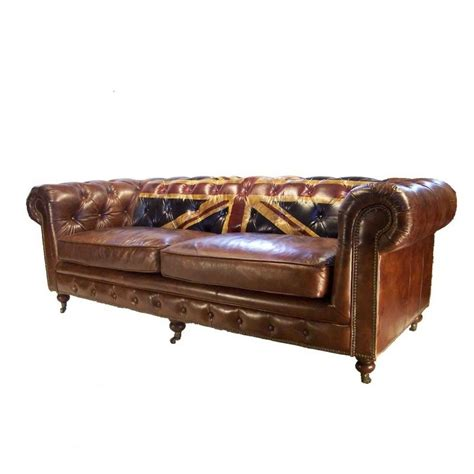canapé chesterfield canapé 3 places chesterfield cuir marron vintage drapeau