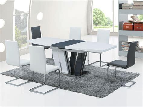 cdiscount table et chaise de cuisine table à manger extensible mdf laqué gris blanc
