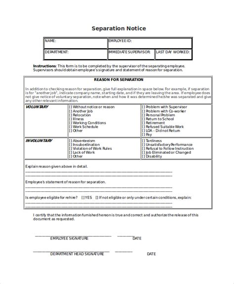 separation notice templates google docs ms word