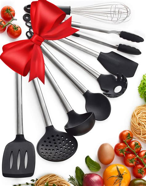utensils kitchen cooking tools utensil spatulas silicone spatula non stick spoon serving pasta pans safe stainless steel tongs pots strainer