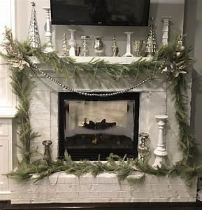 Christmas, Mantle, Idea, Silver, And, White