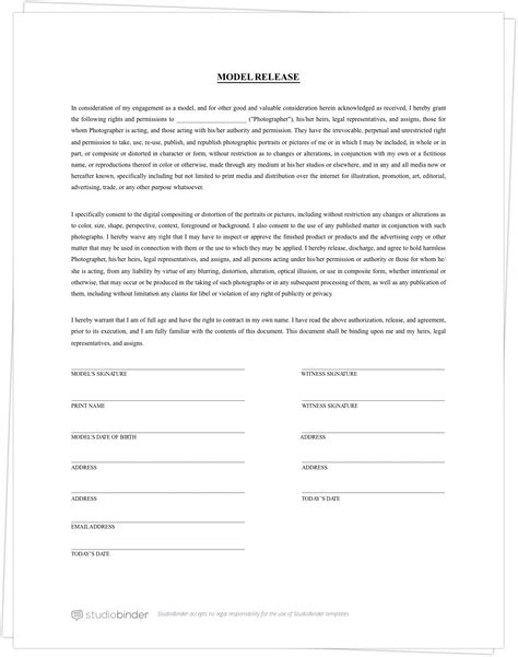 Contract Signature Page Template Uk by The Best Free Model Release Form Template For Photography
