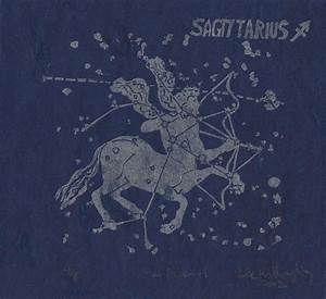Sagittarius the Archer Constellation Linocut in Silver on Blue