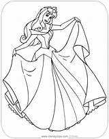 Aurora Coloring Sleeping Beauty Pages Printable Princess Disneyclips Disney Rose Briar Dress Sheet Showing sketch template
