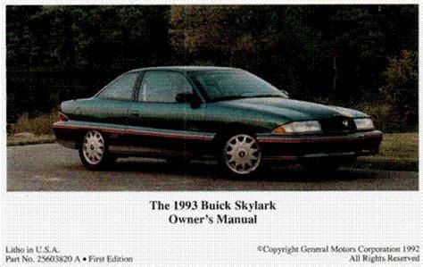 auto repair manual online 1986 buick skylark navigation system bradley emmanuel buick skylark 1993