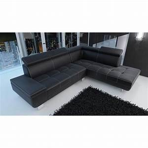 Canapé D Angle Convertible Simili Cuir : canap d 39 angle moderne daylon simili cuir noir design ~ Voncanada.com Idées de Décoration