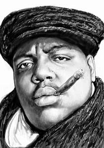 Biggie Smalls art drawing sketch portrait by Kim Wang