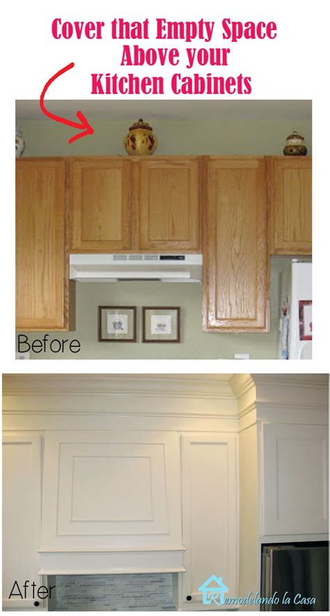 how to fix gap between ceiling and kitchen crown molding closing the space above the kitchen cabinets remodelando