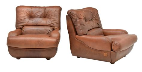 (2) Italian Brown Leather Armchairs, Lev & Lev
