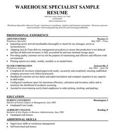 objective for warehouse resume exles resume format resume format for warehouse