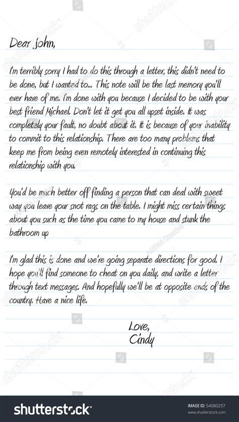neatly written sample dear john letter  vector format
