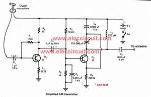 simple two transistors am transmitter circuit With two transistors wireless microphone fm transmitter circuit schematic diagram