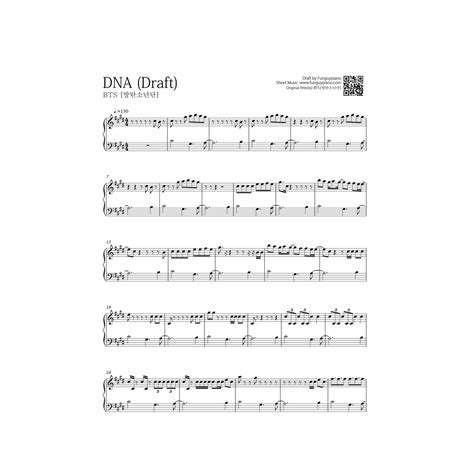 not angka not with me bts dna free piano sheet funguypiano