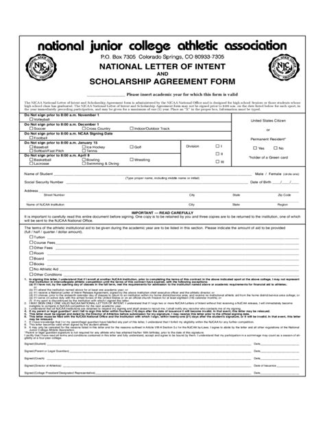 national letter  intent  scholarship agreement form