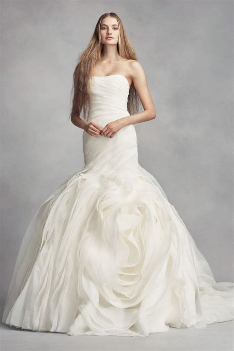 Extra Length Organza White By Vera Wang Wedding Dress With