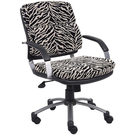 boss zebra microfiber padded arm office chair 293472