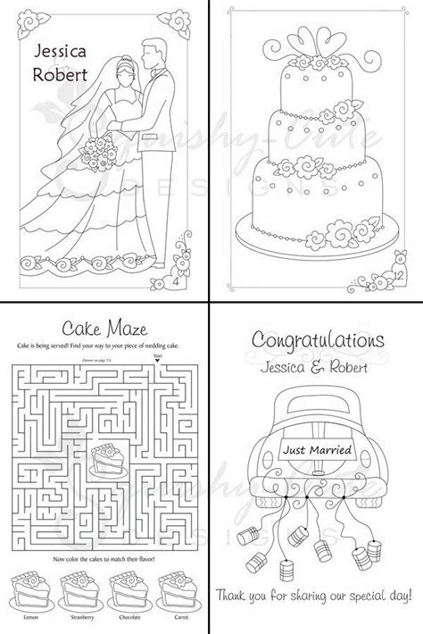 wedding coloring book kids wedding favors personalized