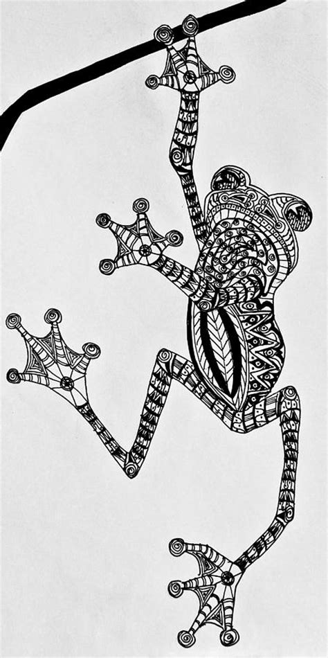 tattooed tree frog zentangle drawing  jani freimann