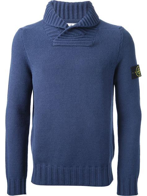 lyst stone island shawl collar jumper  blue  men