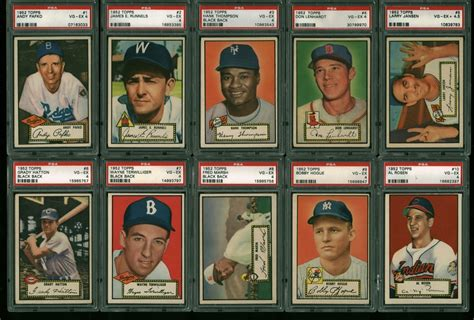 Bgs/bvg (card grading) bas (autograph authentication) cbcs (comic book grading) 200 miles 500 miles 1000 miles 2000 miles 3000 miles. Lot Detail - Incredible Near-Complete 1952 Topps Baseball Card Set Graded PSA EX-VG 4-5!