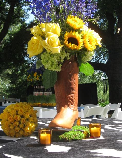 cowboy boot centerpiece    vase