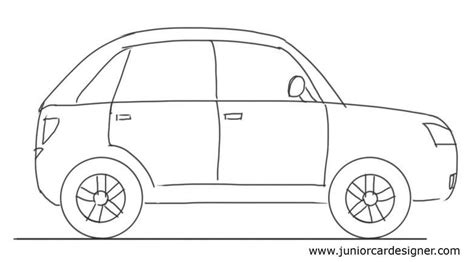 cartoon sports car side view car drawing tutorial hatchback side view junior car