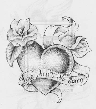 grey banner  rose  heart tattoo design