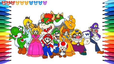 draw super mario characters  drawing coloring pages   kids youtube