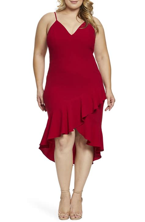dress  population wendy highlow ruffle cocktail dress