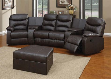 Home Sectional Sofa by 50110 Spokane Home Theater Sectional Sofa In Brown By Acme