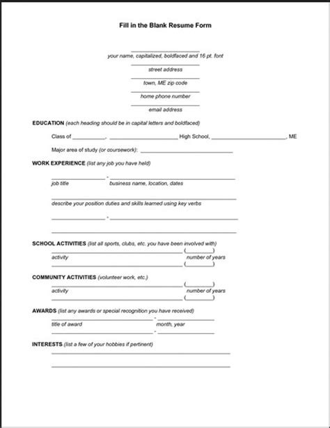 basic resume form to printable resume format