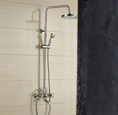 wall mount kitchen faucet with sprayer mazama 8 inch wall mount brushed nickel shower