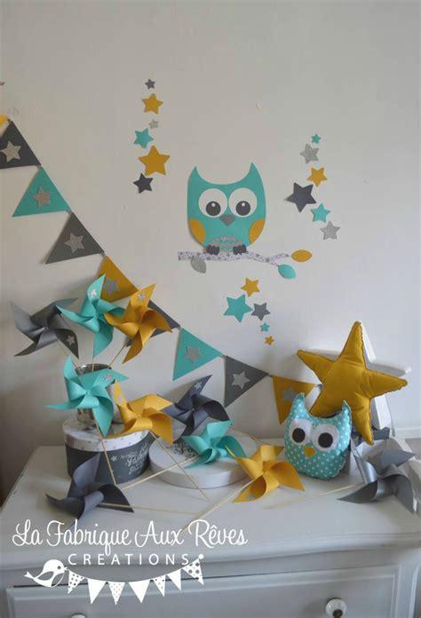 deco chambre etoile décoration chambre enfant bébé hibou étoiles turquoise