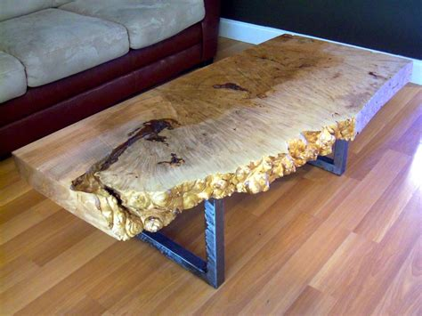 Handmade Live Edge Maple Burl Coffee Table With Square Metal Legs by Ozma Design   CustomMade.com