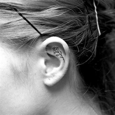 itty bitty rose helix ear tattoos
