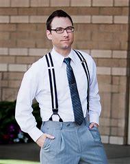 Men Wearing Button Suspenders