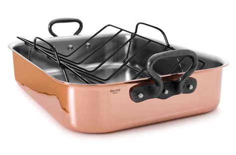 mauviel mheritage  copper roasting pan  rack     cutlery