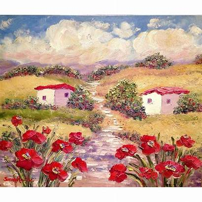 French Country Provence Oil Poppies Painting Artist