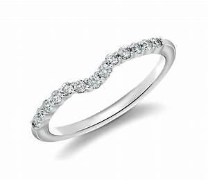 Classic Curved Diamond Wedding Ring In 18k White Gold 14