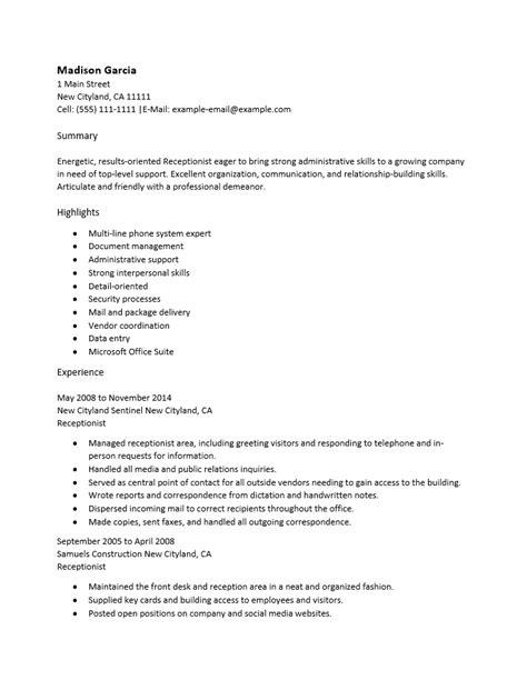 free office receptionist resume template sle