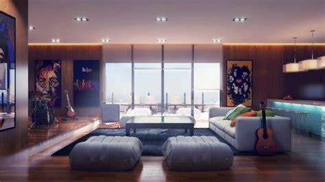 Modernes Wohnzimmer Mit Coolen Und Klaren Linien