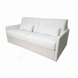 canape convertible dm lucky cuir regenere blanc With canapé lit convertible 140x190
