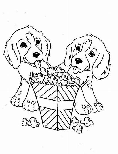 Coloring Popcorn Dog Pages Eating Printable Dogs